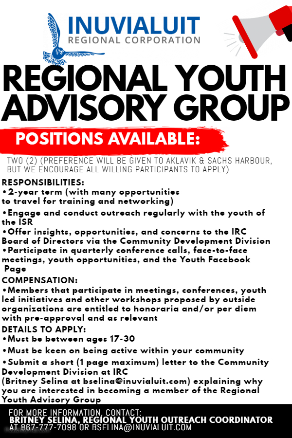 Regional Youth Advisory Group, 2 Positions Available