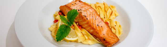 Salmon with noodles