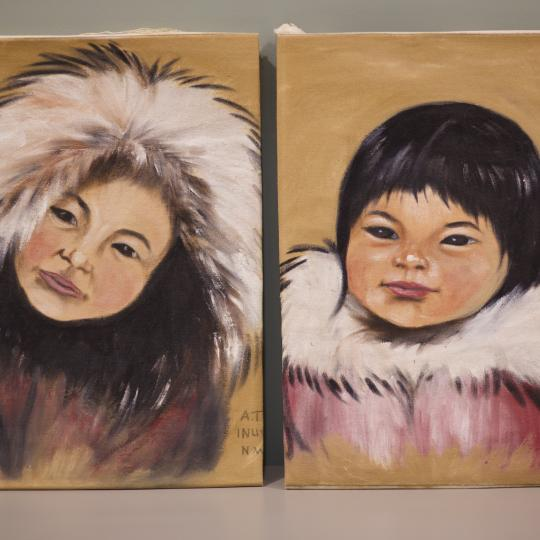 Portraits of two young girls paintings by Thrasher