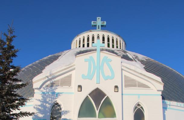 The famous Igloo Church in Inuvik.