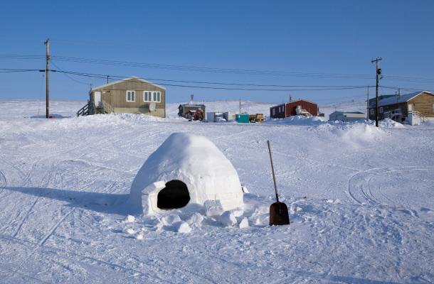 An igloo built in Sachs Harbour.