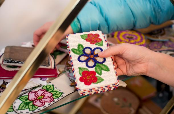 Beaded arts and crafts in Tuktoyaktuk.