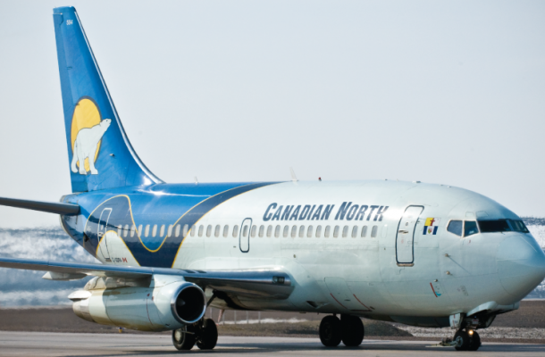 Canadian North plane on the runway