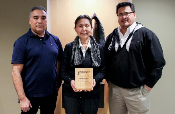 Award-winner Mary Cockney, with Charles Klengenberg and Duane Smith