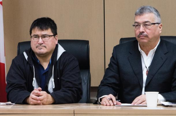 Duane Ningaqsiq Smith, Chair and CEO for IRC, and Michael McLeod, MP Northwest Territories.