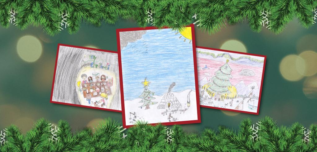 Christmas cards representing a Northern/Inuvialuit Christmas