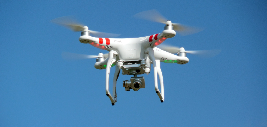 A drone flying in the air.