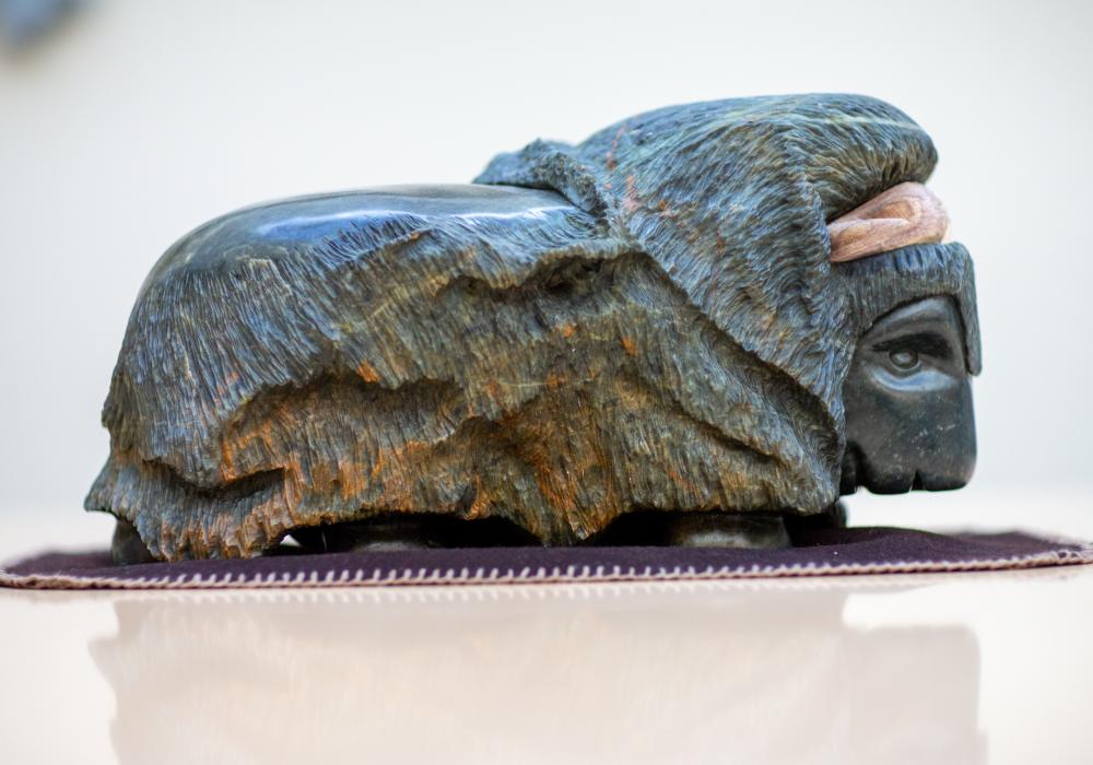Lyle Trimble Muskox Carving, Umingmak Boardroom